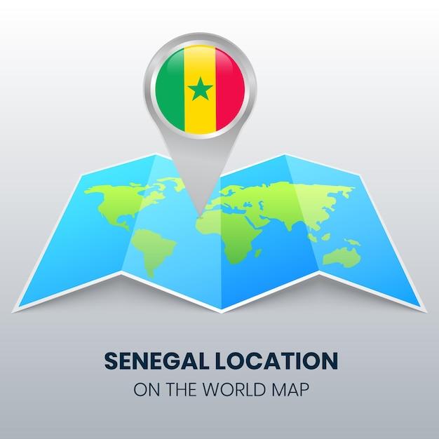 Ikona Lokalizacji Senegalu Na Mapie świata Premium Wektorów