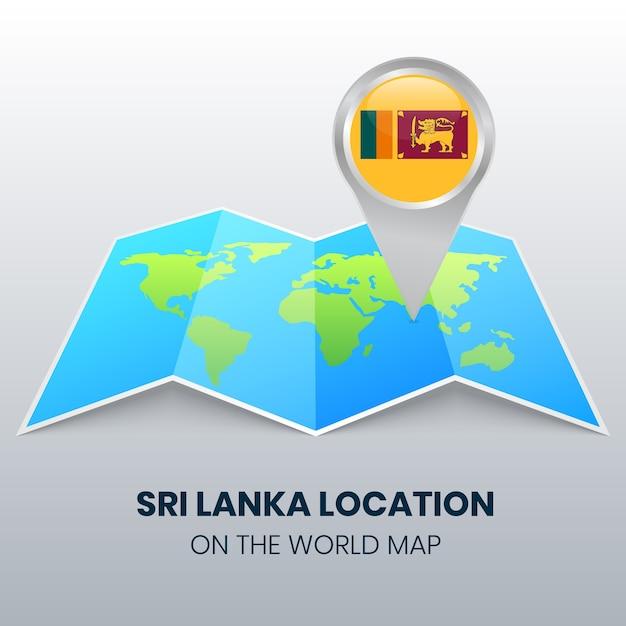 Ikona Lokalizacji Sri Lanki Na Mapie świata, Ikona Okrągłej Pinezki Sri Lanki Premium Wektorów