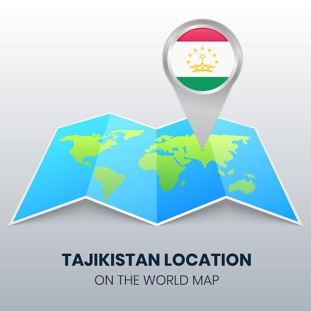 Ikona Lokalizacji Tadżykistanu Na Mapie świata, Ikona Okrągłej Pinezki Tadżykistanu Premium Wektorów