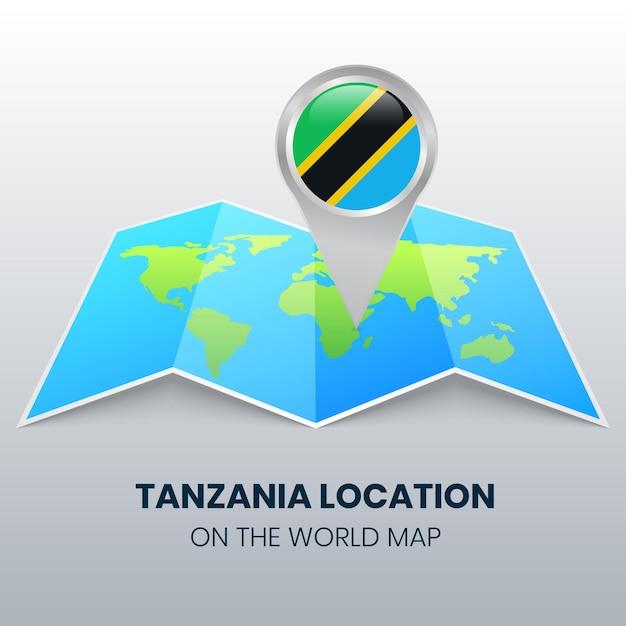 Ikona Lokalizacji Tanzanii Na Mapie świata Premium Wektorów