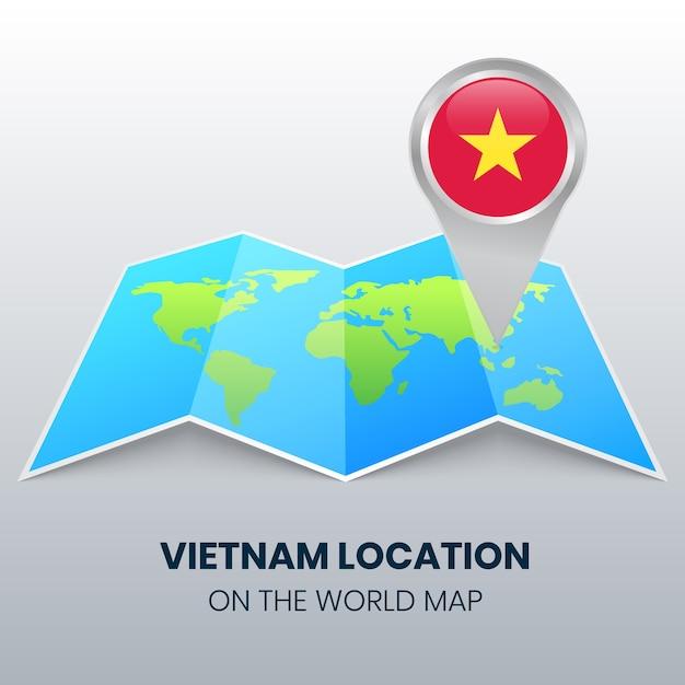Ikona Lokalizacji Wietnamu Na Mapie świata, Ikona Okrągłej Pinezki Wietnamu Premium Wektorów