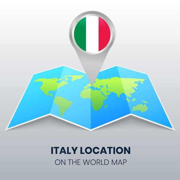 Ikona Lokalizacji Włoch Na Mapie świata, Okrągła Ikona Pin Włoch Premium Wektorów