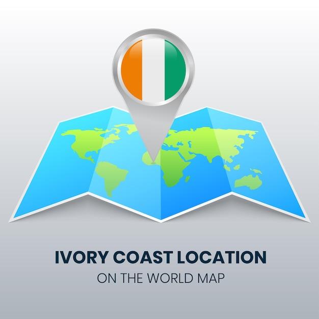 Ikona Lokalizacji Wybrzeża Kości Słoniowej Na Mapie świata, Okrągła Ikona Pinezki Wybrzeża Kości Słoniowej Premium Wektorów