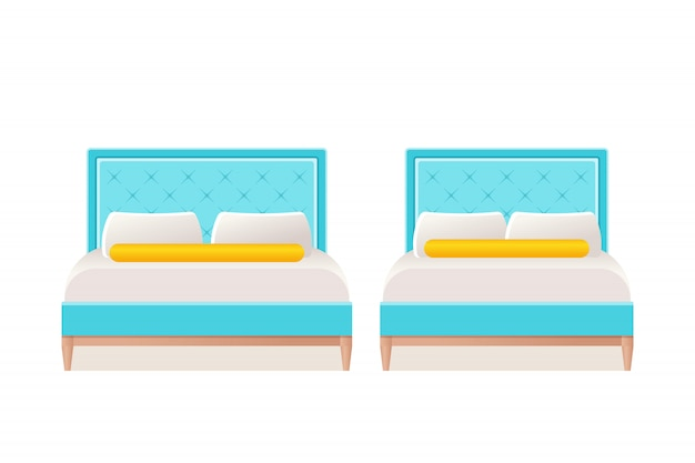 Ikona łóżka W Mieszkaniu. Ilustracja Kreskówka. Premium Wektorów