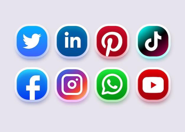 Ikona Mediów Społecznościowych Lub Kolekcja Logo Premium Wektorów