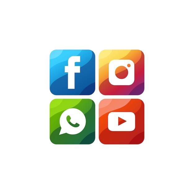 Ikona mediów społecznościowych premium logo wektor Premium Wektorów