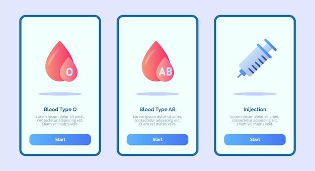 Ikona Medyczna Grupa Krwi O Grupa Krwi Ab Wstrzyknięcie Dla Aplikacji Mobilnych Szablon Strony Baneru Ui Premium Wektorów