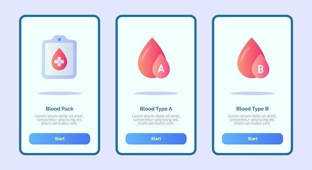 Ikona Medyczna Opakowanie Krwi Grupa Krwi A Grupa Krwi B Dla Aplikacji Mobilnych Szablon Strony Banera Ui Premium Wektorów