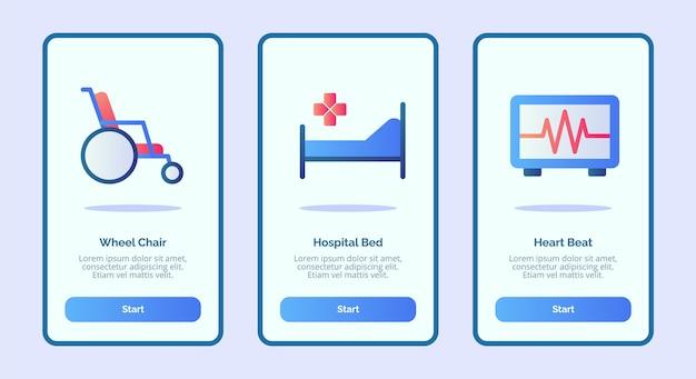 Ikona Medyczny Wózek Inwalidzki łóżko Szpitalne Bicie Serca Premium Wektorów