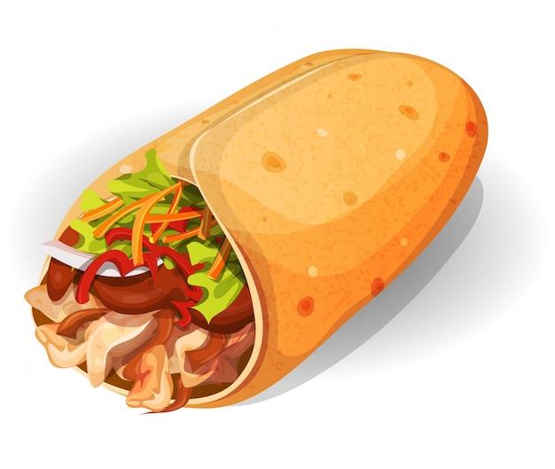 Ikona Meksykańskiego Burrito Premium Wektorów