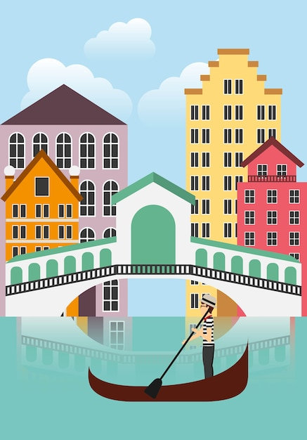 Ikona Miasta Venecia. Projekt Kultury Włoskiej. Grafika Wektorowa Premium Wektorów
