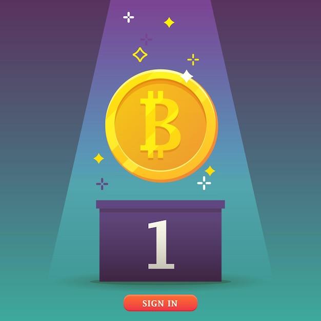 Ikona Monety Bitcoins. Bitcoins - Koncepcja Wirtualnych Pieniędzy. Płaska, Nowoczesna Koncepcja Technologii Kryptowalut. Premium Wektorów