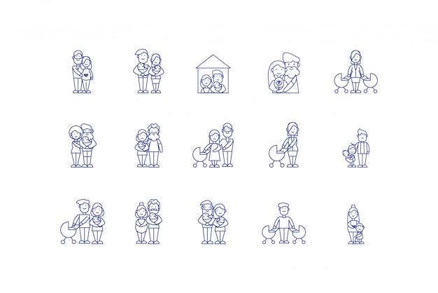 Ikona Na Białym Tle Bajki Rodzinne Scenografia Premium Wektorów