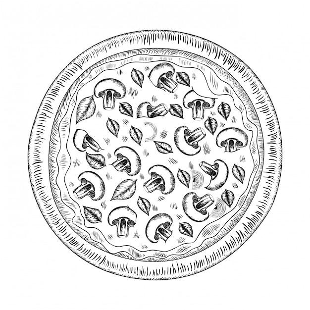 Ikona na białym tle pyszne włoskiej pizzy Premium Wektorów