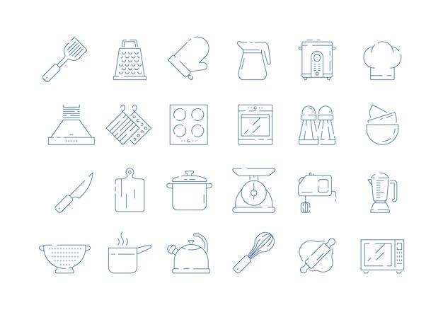 Ikona Narzędzi Do Gotowania. Gotować Rękawiczki Domowe Zestaw Do Patelni Kuchennej Miarki łyżka I Widelec Skali Wektor Cienkie Symbole Na Białym Tle Premium Wektorów