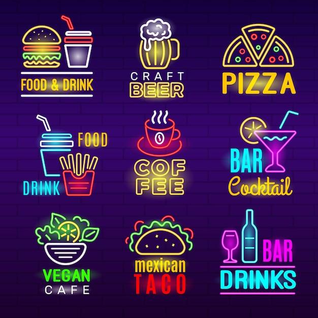 Ikona Neon żywności. Piwo Napoje Lekkie Reklama Godło Pizzy Zestaw Produktów Rzemieślniczych. Premium Wektorów