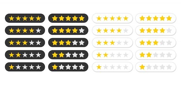 Ikona Oceny Pięciu Gwiazdek. Oceń Poziom Statusu Aplikacji. Premium Wektorów