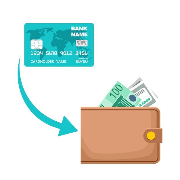 Ikona Otrzymywania Gotówki Z Karty Płatniczej. Proces Transferu Pieniędzy Premium Wektorów