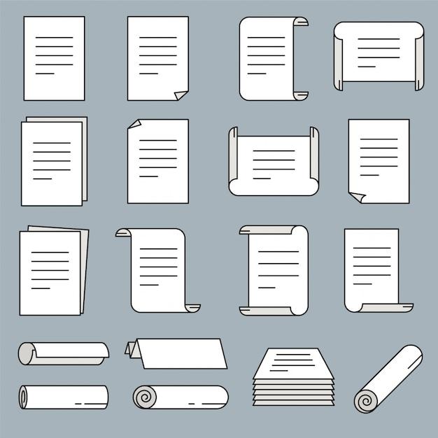 Ikona Papieru W Stylu Cienkich Linii. Ilustracji Wektorowych. Premium Wektorów