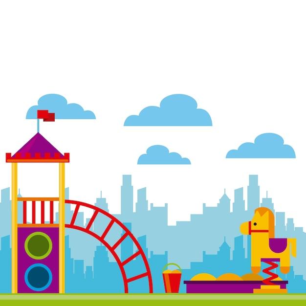 Ikona piękne dzieci plac zabaw Premium Wektorów