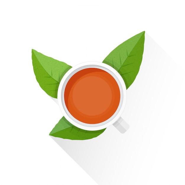Ikona Płaski Liść Zielonej Herbaty Kubek Herbaty Premium Wektorów
