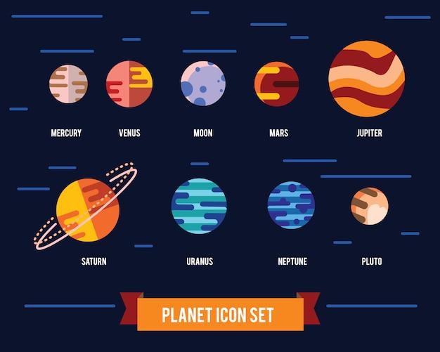 Ikona płaski zestaw planety układu słonecznego, słońce i księżyc na ciemnym tle przestrzeni. Darmowych Wektorów