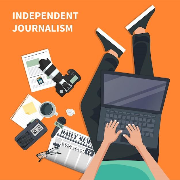 Ikona płaskie niezależnego dziennikarstwa Premium Wektorów