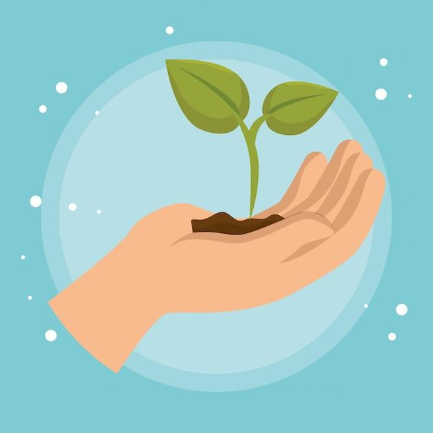 Ikona podnoszenia ręki ekologia roślin Darmowych Wektorów