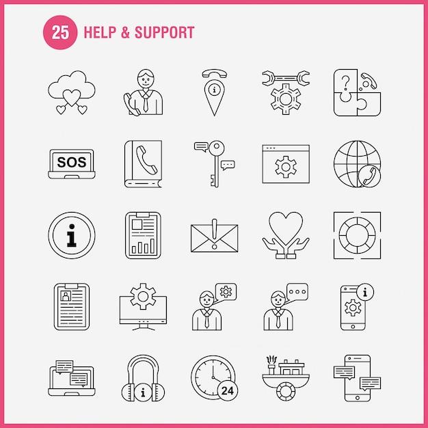 Ikona pomocy i linii wsparcia Premium Wektorów