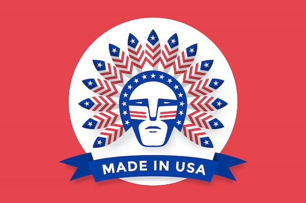 Ikona Przedstawiająca Amerykanina Z Piórami Wodza Indiańskiego Na Głowie Premium Wektorów