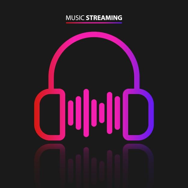 Ikona Przesyłania Strumieniowego Muzyki Premium Wektorów