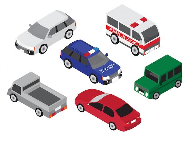 Ikona Samochodu Izometryczny Zestaw Premium Wektorów