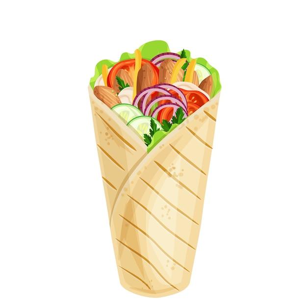 Ikona Shawarma Lub Kurczaka Premium Wektorów