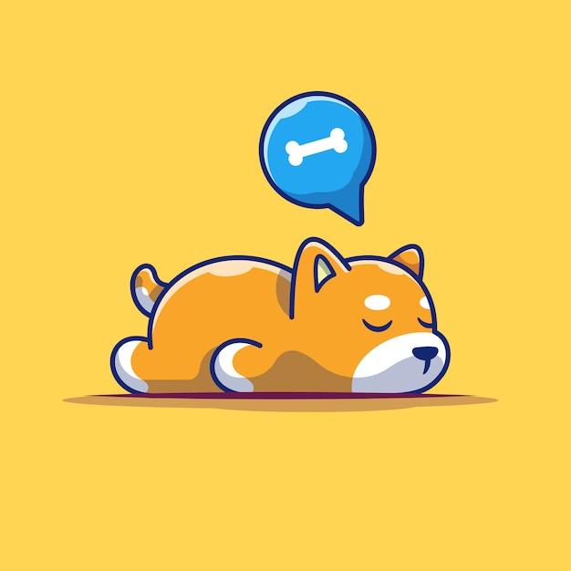 Ikona Spania Leniwy Pies. Spanie Shiba Inu, Zwierzę Ikona Na Białym Tle Premium Wektorów