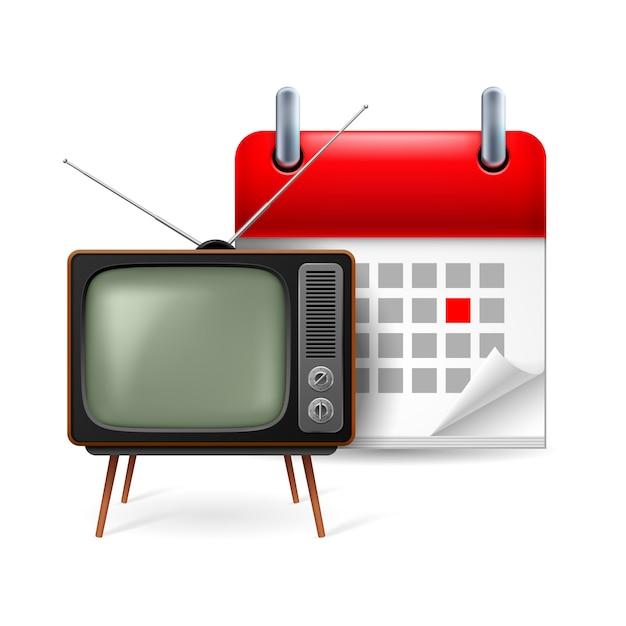 Ikona Starego Telewizora I Kalendarza Z Zaznaczonym Dniem Premium Wektorów