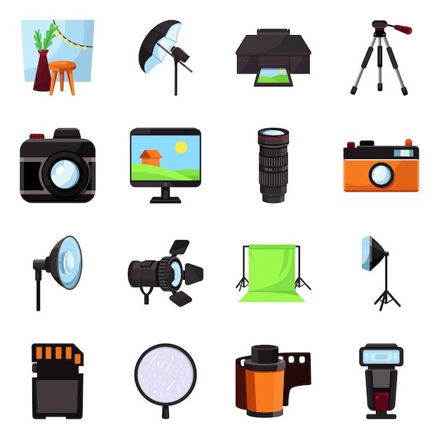 Ikona studia i zdjęcia. ustaw studio i sprzęt Premium Wektorów