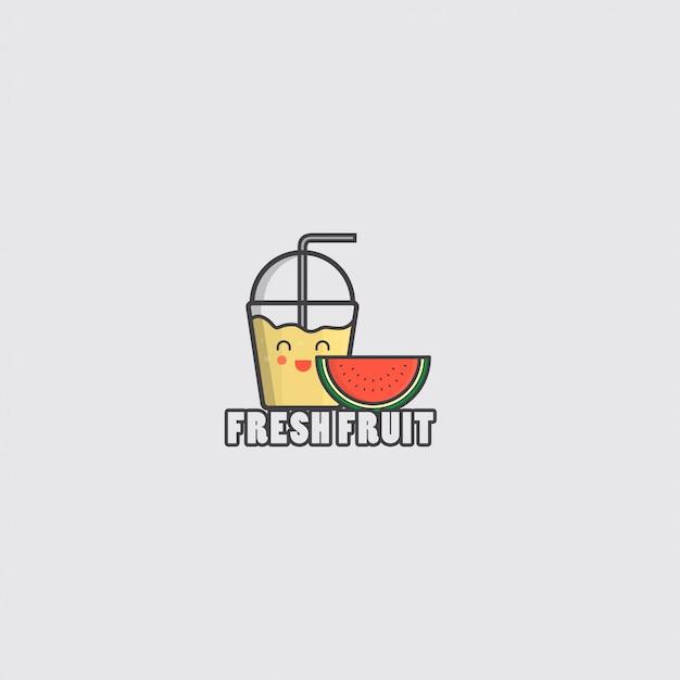 Ikona świeżych owoców z sokiem i arbuzem Premium Wektorów