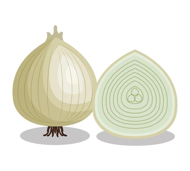 Ikona świeżych warzyw cebula Premium Wektorów