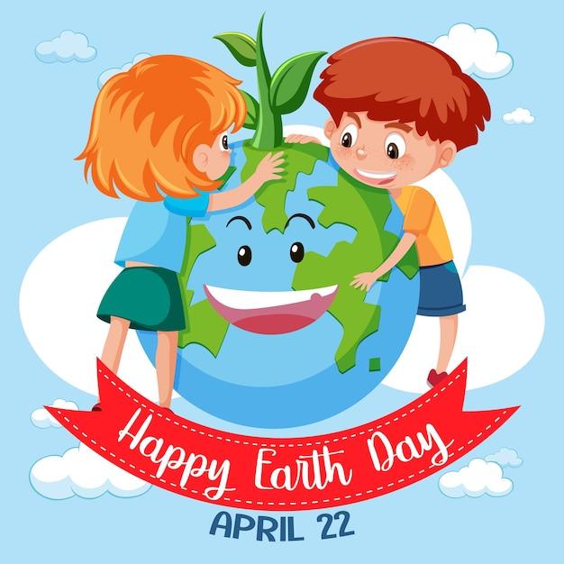 Ikona Szczęśliwy Dzień Ziemi Premium Wektorów