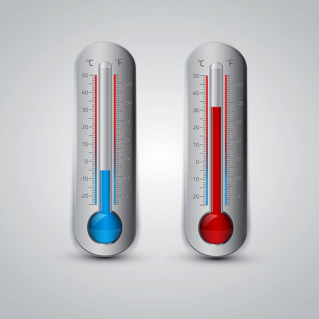 Ikona Termometru. Celsjusz I Fahrenheit. Premium Wektorów