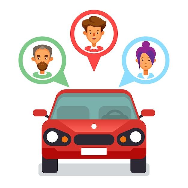 Ikona Udostępniania Samochodu Z Płaskimi Postaciami Premium Wektorów