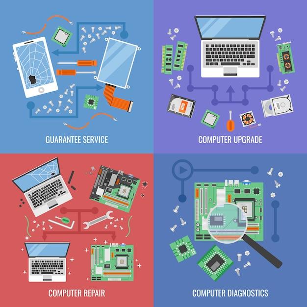 Ikona Usługi Komputera Zestaw Z Opisami Usługi Gwarancji Uaktualnienia Komputera Naprawy Komputera I Ilustracji Wektorowych Diagnostyki Premium Wektorów