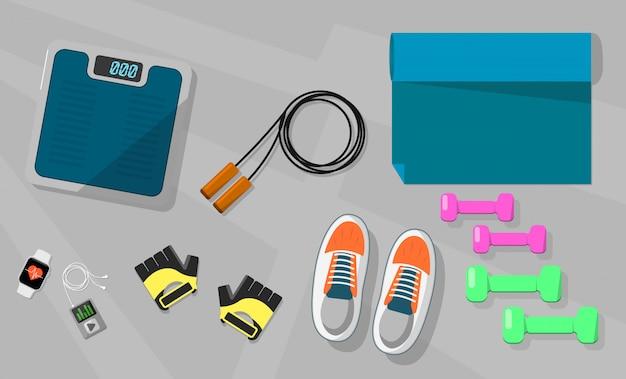 Ikona wektor wagi rękawice sportowe, buty, liny. Premium Wektorów