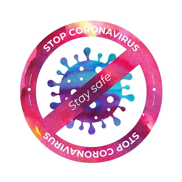 Ikona Wirusa Koronowego Z Zakazem Znak W Stylu Przypominającym Akwarele Premium Wektorów