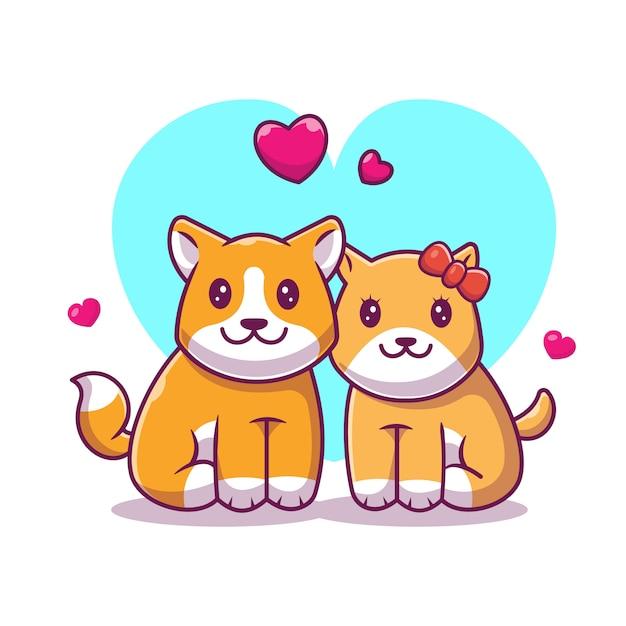 Ikona Zakochania Shiba Inu. Pies I Miłość, Zwierzę Ikona Biały Na Białym Tle Premium Wektorów