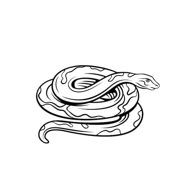 Ikona Zarys Węża. Odznaka Zwierzęcia żmii Do Zoo Premium Wektorów
