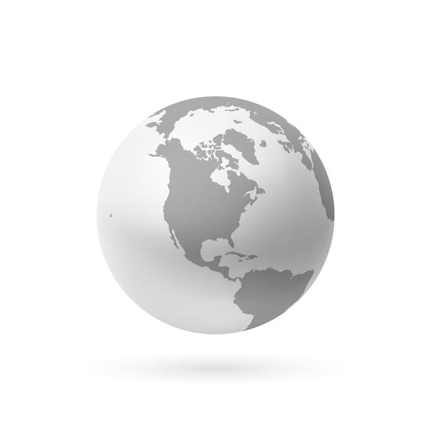 Ikona Ziemi Monochromatycznej Na Białym Tle. Ilustracja. Premium Wektorów