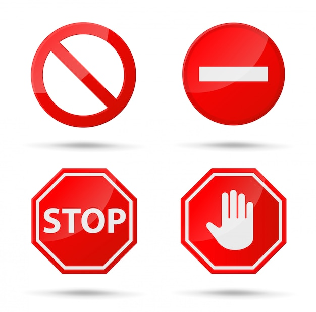 Ikona Znaku Stop Powiadomienia, Które Nic Nie Robią. Premium Wektorów