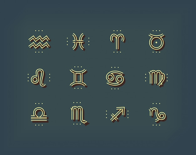 Ikona Zodiaku. święte Symbole. Znaki Astrologiczne. Kolekcja Vintage Cienka Linia. Na Ciemnym Tle. Premium Wektorów