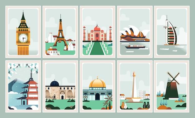 Ikoniczny plakat budowlany i znaczek pocztowy Premium Wektorów